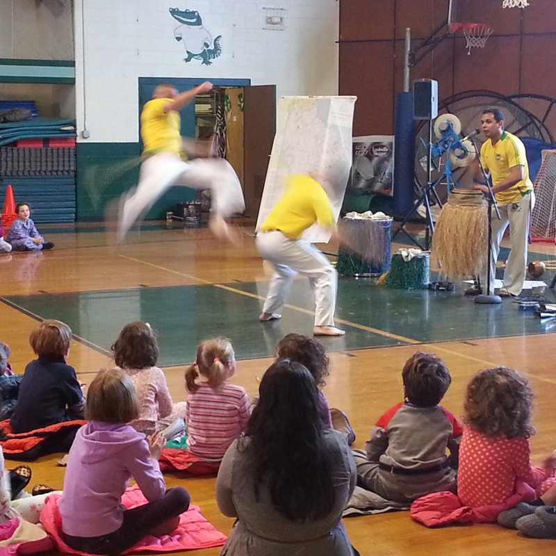 The Afro-Brazilian Ensemble performs capoeira cultural assembly programs for Massachusetts schools